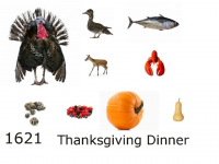 contents of the thankgiving dinner in 1621
