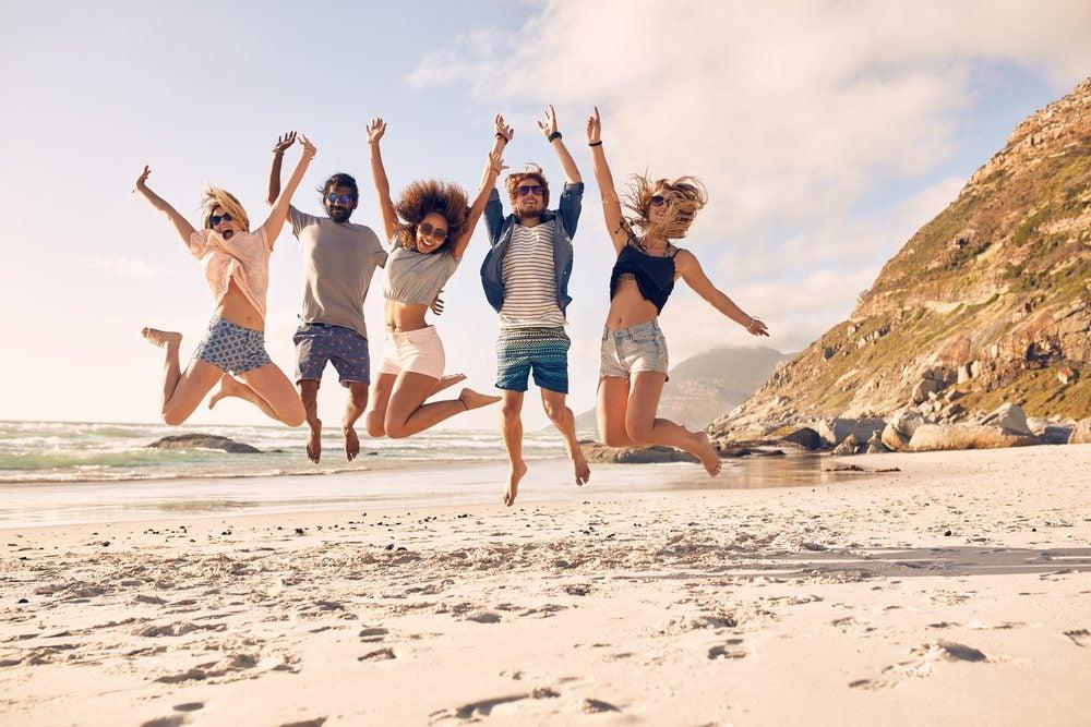 Happy friends in summer