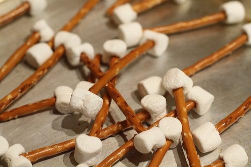 pretzel and marshmallow bones