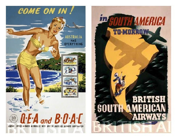 British Airways 1940 travel ads