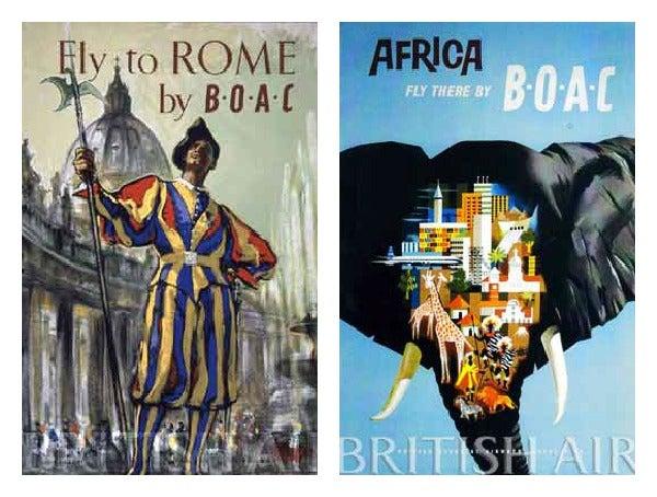 British Airways 1960 travels ads