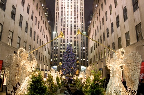 Lit angels and Christmas tree in Rockerfeller Center