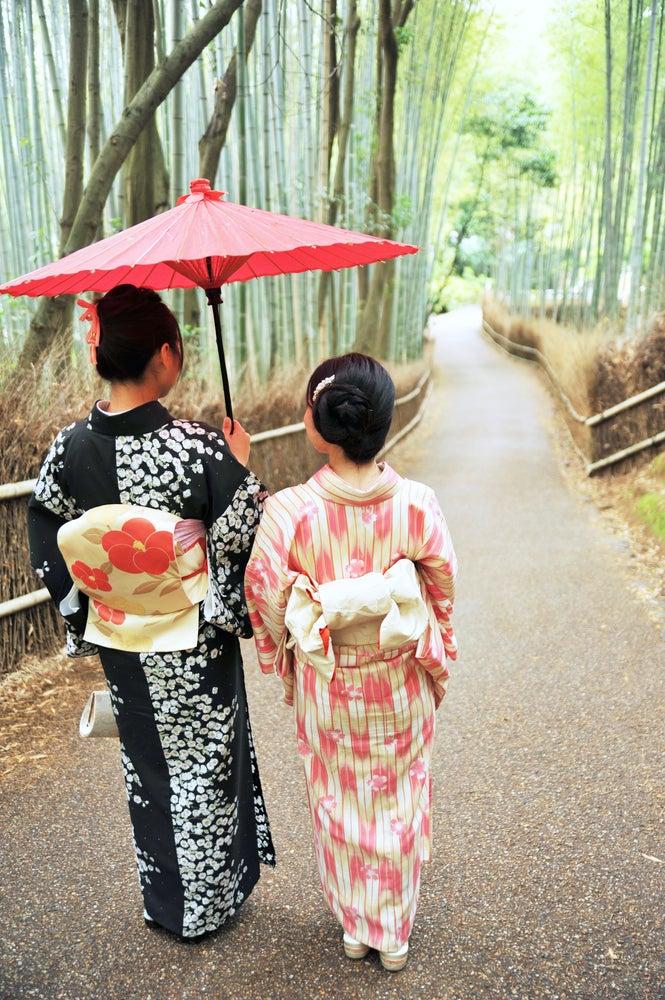 Ladies wearing kimonos