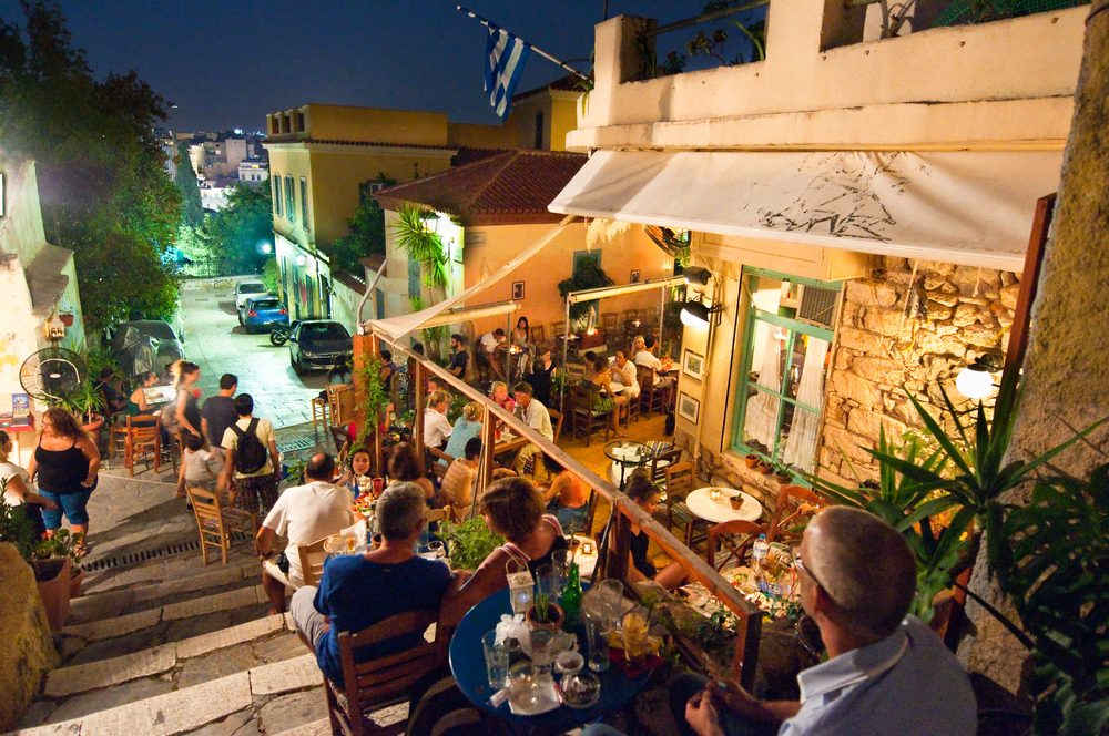 Busy bar in Athens at night