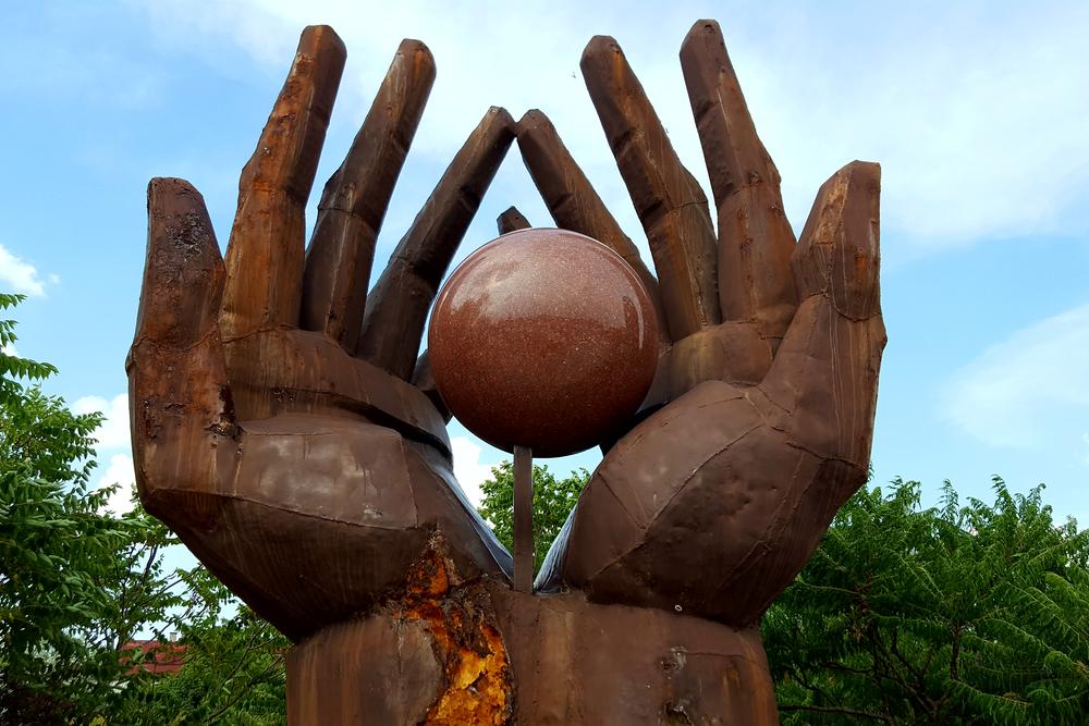 Hand statue in Memento Park