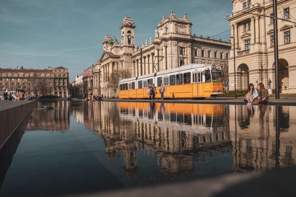 Tram along the Danube in Budapest