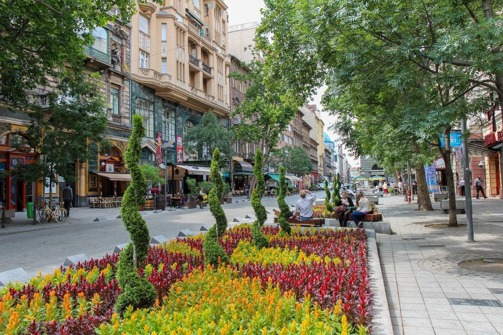Street shot of Andrassy Ut.
