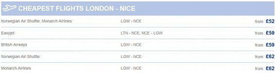cheapest flights london to nice