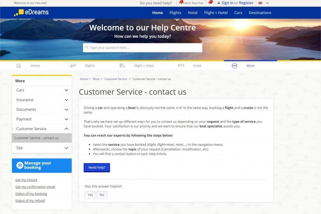 Customer Service eDreams Help Centre