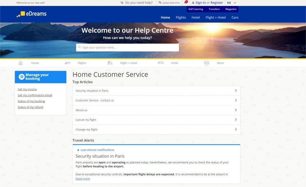Customer Service eDreams page