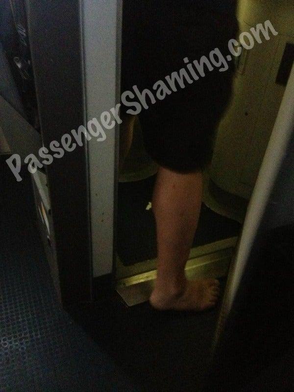 Airplane Bathroom No Shoes