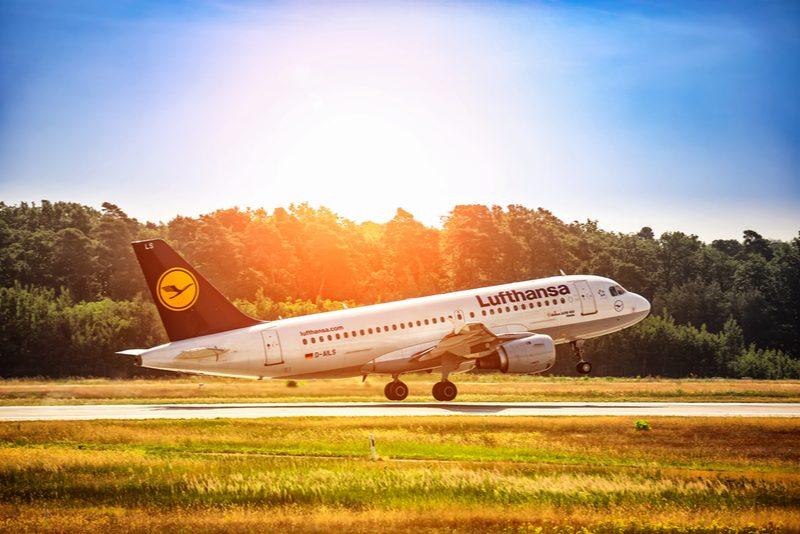 Lufthansa plane taking off