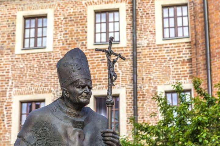 Statue of Karol Wojtyla on krakow