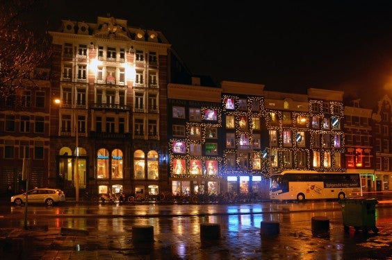 Christmas-lit buildings  in Amsterdam
