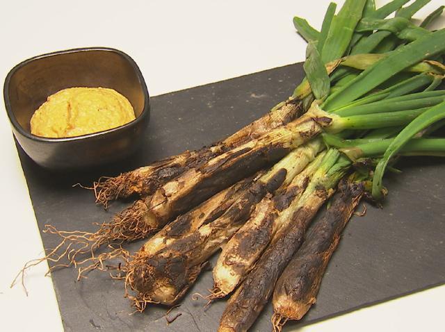 calcots with romesco sauce