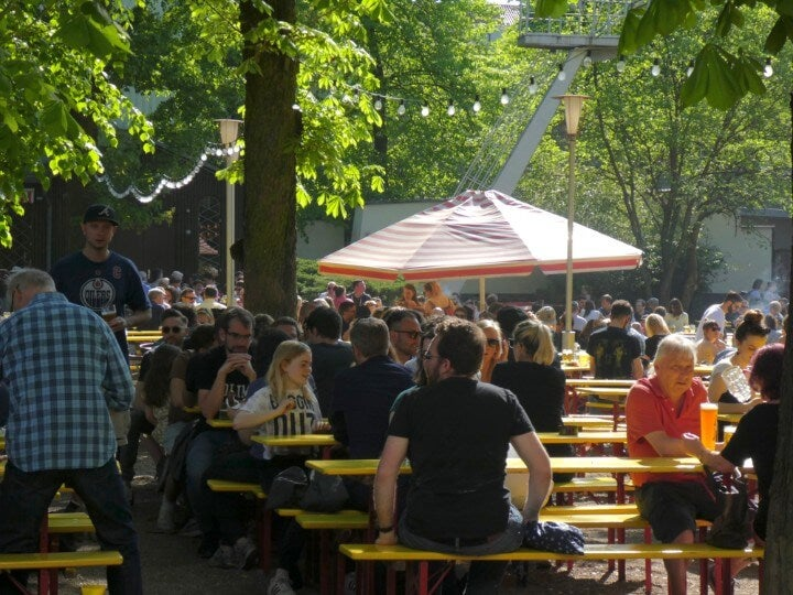 Biergarten beer garden in berlin germany