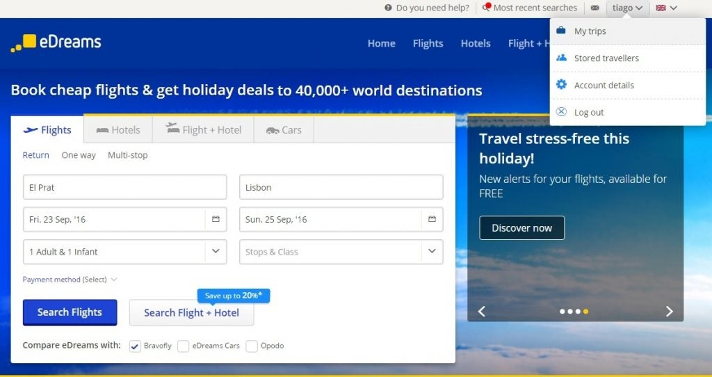 edreams mytrips area login