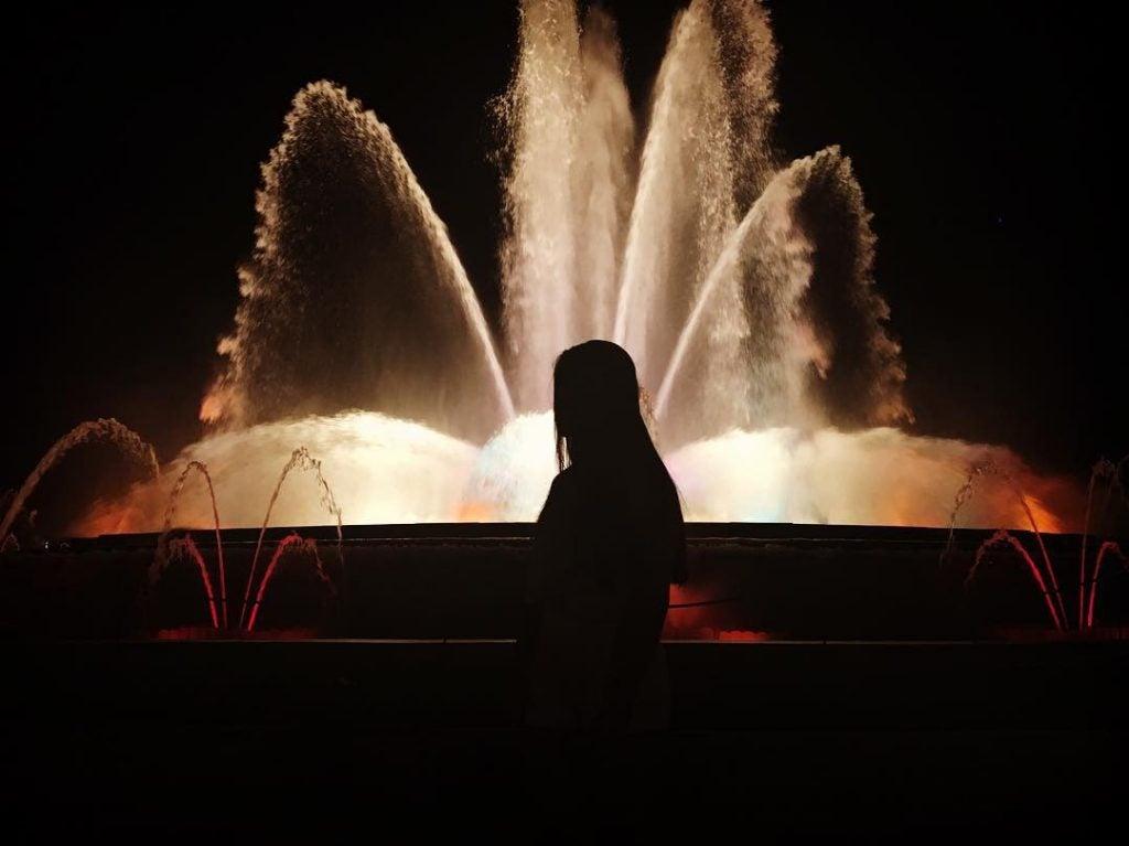 Magic fountain barcelona by night