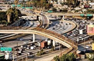 a motorway traffic jam in LA