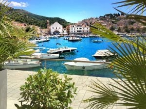 boats moored in a marina in hvar croatia
