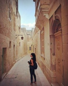 a tourist wander mdina old town malta
