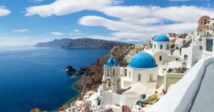 an aerial view of a bay in santorini greece
