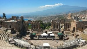 a view of mount etna in taormina sicily