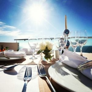 a set table with shining sun in tenerife spain