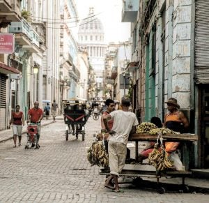 fruit sellers in the street in old havana