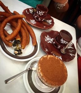 churros con chocolate at chocolateria valor in madrid