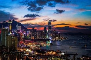 the hong kong skyline at sunset