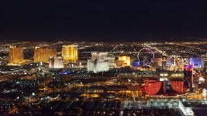 the las vegas skyline at night