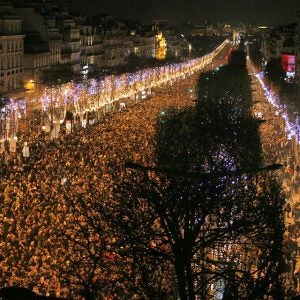 new years eve crowd on the champs elysees paris