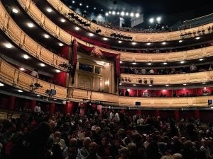 an audience prepares for a show at teatro real madrid