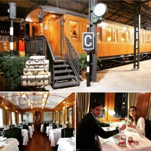 a couple dines on a train car at vagon de beni in madrid