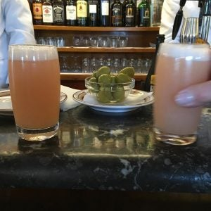 two bellinis at harry's bar in venice