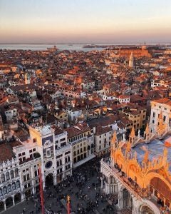 the view from saint mark's bell tower in venice italy