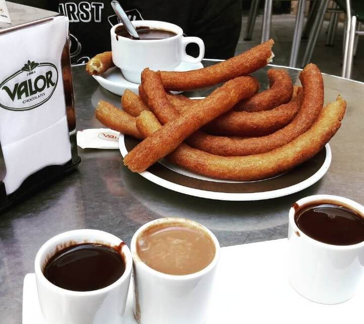 Churros with chocolate in Madrid
