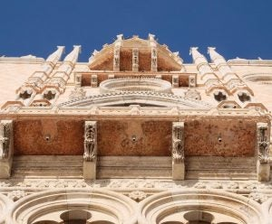 the outside facade of the doge's palace in venice italy