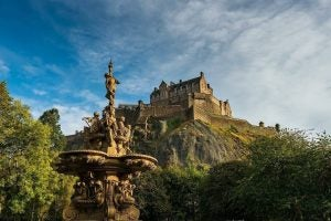 edinburgh castle from below castle rock