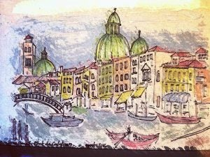 a water painting of the grand canal in venice