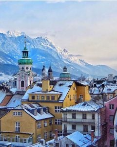 the city skyline with mountain backdrop in innsbruck austria