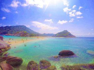 tourists swim at a beach in koh samui thailand