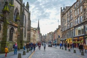 a tourist packed royal mile in edinburgh