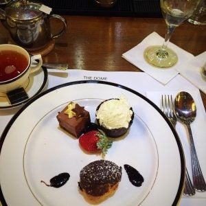 luxurious chocolate desserts served with tea at the dome edinburgh