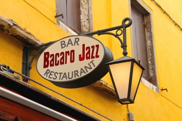 Bacaro Jazz restaurant bar sign in Venice - Italy