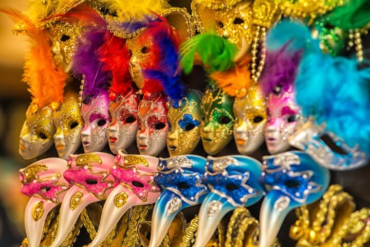 Colorful carnival masks on the market in Venice - Italy