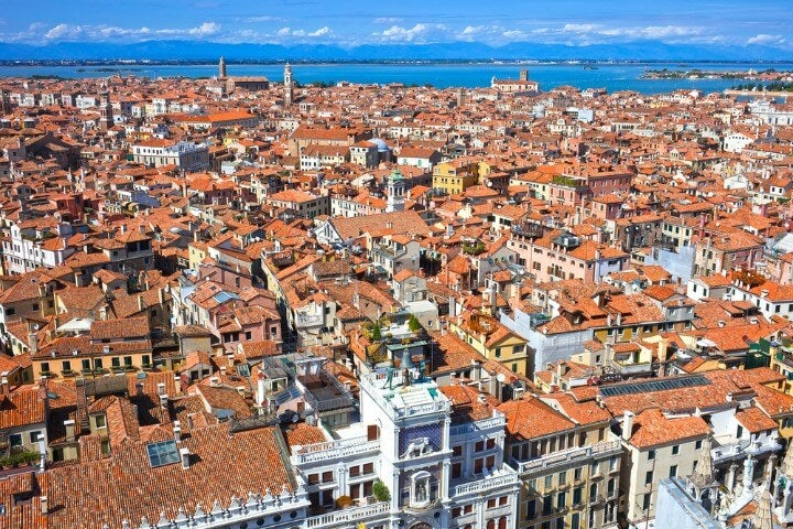 Panoramic view of Venice from San Marco bell tower - Italy
