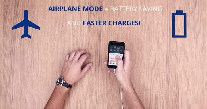airplane mode to save battery and charge your smartphone faster