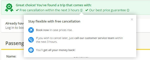 free cancellation edreams